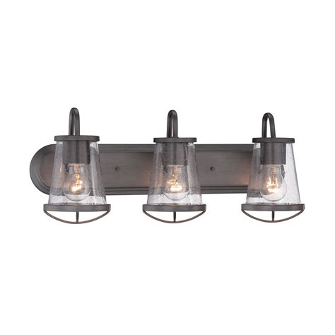 Bath Vanity Light Fixtures by Designers Darby Weathered Iron Three Light Bath