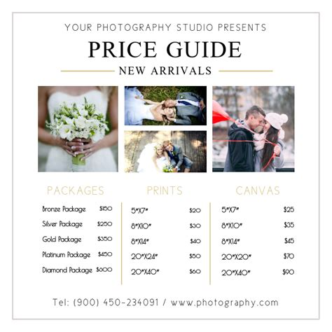 copy  wedding photographer price list design postermywall