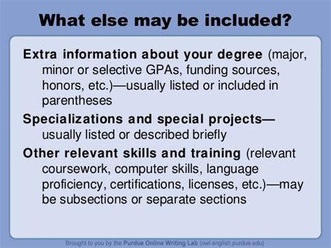 definition of resume subheadings