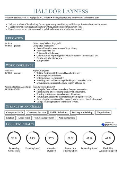 resume exles by real student resume law internship kickresume