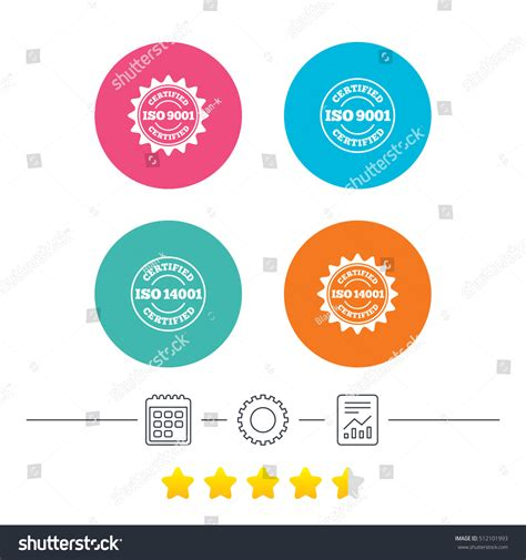 iso   certified icons certification stock vector