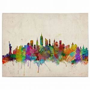 Spray paint art nyc skyline spray painting kitchen cabinets for Kitchen colors with white cabinets with nyc skyline wall art