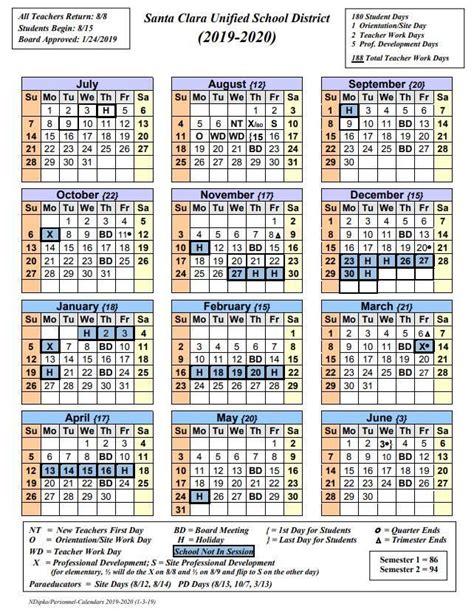 santa clara elementary school district calendar