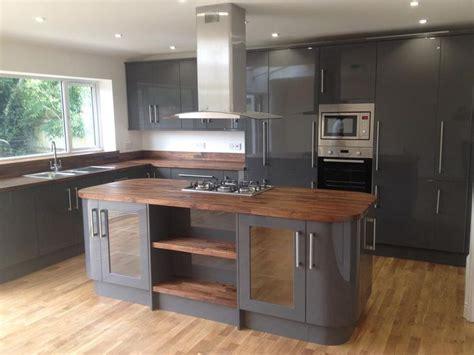 grey kitchen walnut worktop google search kitchen