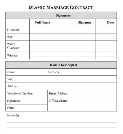 sample marriage contract templates   ms