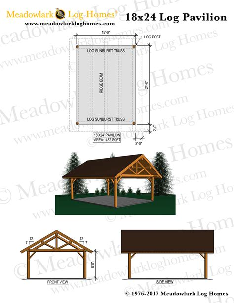 18x24 log pavilion meadowlark log homes