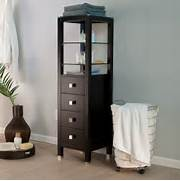Tall Bathroom Storage Cabinets by Tall Wood Bathroom Storage Cabinet With Top Glass Shelves Above Drawer And Pa