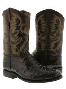 Mens Brown Alligator Belly Print Leather Western Rodeo
