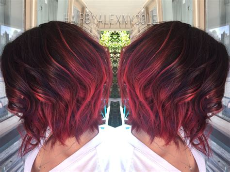 Ruby Red Ombre On Short Hair Http
