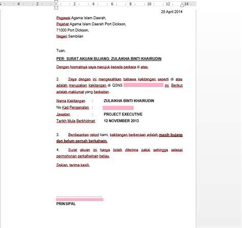 surat rasmi akuan bujang