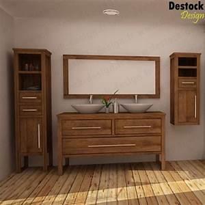 meuble salle de bain bois double vasque mzaolcom With meuble de salle de bain en bois exotique