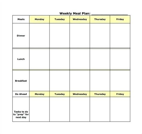 Meal Planner Template Word by Free Printable Weekly Meal Planner Template Word