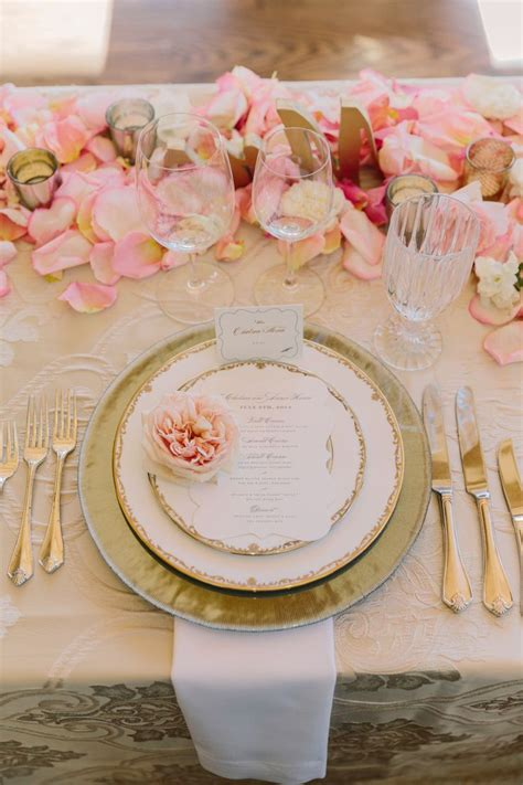 pink  gold place setting head tables brides