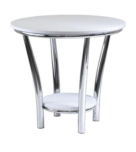 white round accent table modern white round end table using metal chrome table