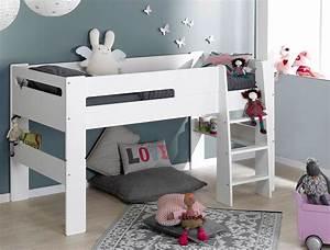 Lit Mi Hauteur Avec Rangement : lit mezzanine chambre enfant london blanc ~ Premium-room.com Idées de Décoration