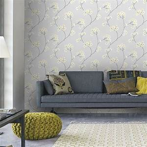 Graham & Brown Grey and Ochre Radiance Removable Wallpaper ...