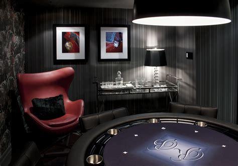 modern basement poker room