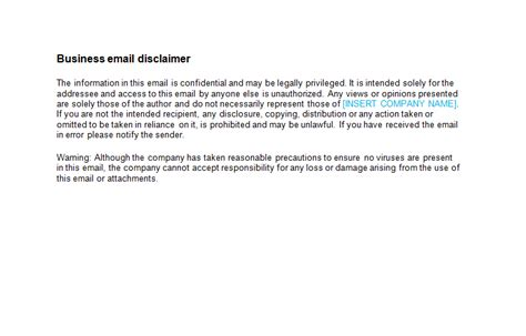 email disclaimers samples