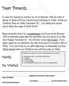 secret santa letter template secret santa letter church secret santa letter and permission slip by acerteacher tpt 68441