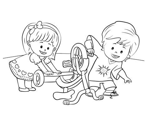 gambar mewarnai anak yang sedang bermain