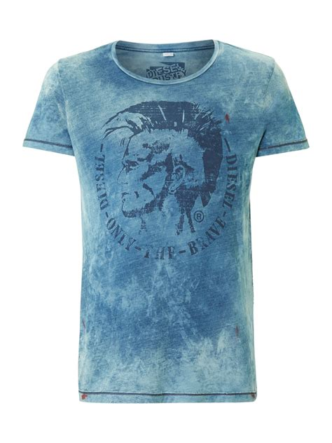 diesel mohican denim wash tshirt  blue  men lyst
