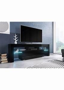 Meuble Tv Led Noir : meuble tv noir laqu avec clairage led celsymobilier ~ Teatrodelosmanantiales.com Idées de Décoration