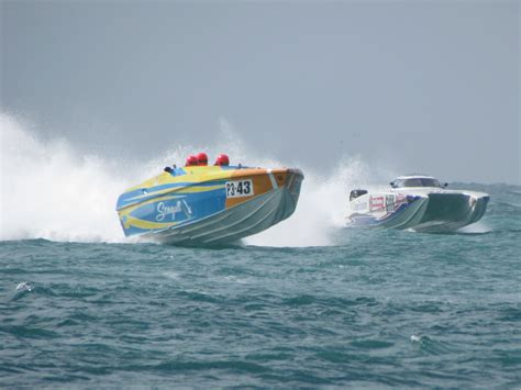 Offshore Racing Boats Speed by Powerboat Race Underway World Chionship 2011