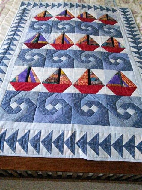 Sailboat Quilt baby quilt with sailboats and waves quilts pinterest