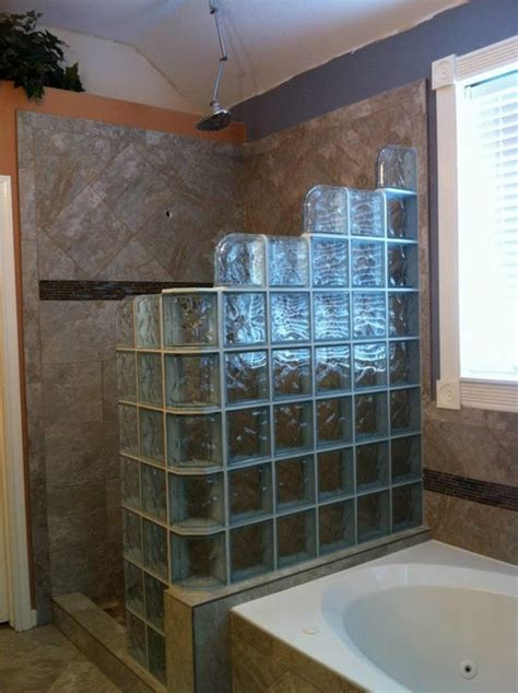 Walk In Shower Materials by Walk In Glass Block Shower Modern Bathroom New York