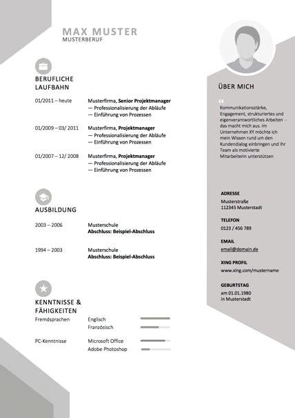 Lebenslauf Design Vorlage by Lebenslauf Vorlage Abstrakt Grau Bewerbung