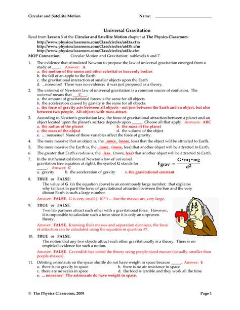 universal gravitation worksheet answers breadandhearth