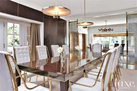 transitional white dining room  gold accents luxe