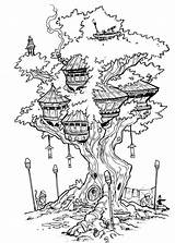 Coloring Tree Pages Treehouse Fairy Deviantart Drawing Inks Adult Travisjhanson Colouring Houses Person Drawings Books Sheets Bird Printable Colorir Sketch sketch template