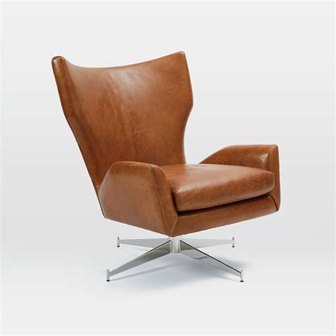 Furniture Brown Leather Comfortable Swivel Chair With by Hemming Leather Swivel Armchair West Elm