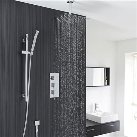 chrome finish ceiling mount square rain shower system