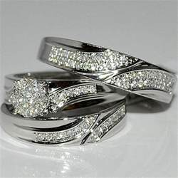 sterling silver wedding ring sets engagement ring unique engagement ring - Silver Wedding Ring Sets