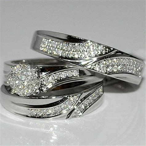 discount wedding ring trio setsaffordable trio ring sets