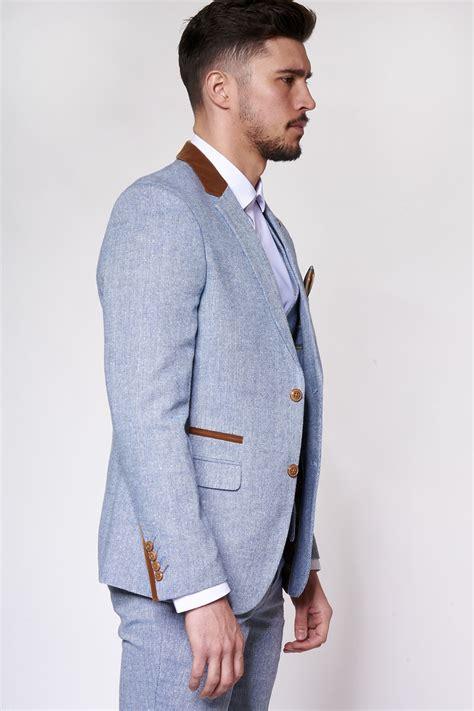 mens light blue blazer mens marc darcy designer light blue heritage tweed blazer