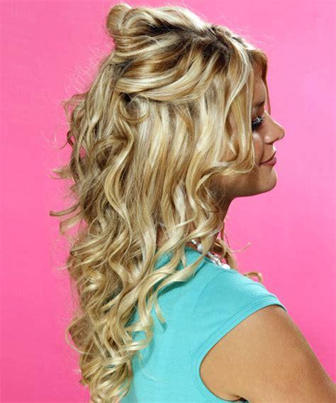 half up long curly formal half up hairstyle medium