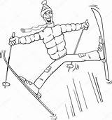 Ski Coloring Jump Cartoon Vector Poles Illustration Jumping Snow Illustrations Pole Funny Clipart Skiing Clip Izakowski Depositphotos Plus Google Twitter sketch template