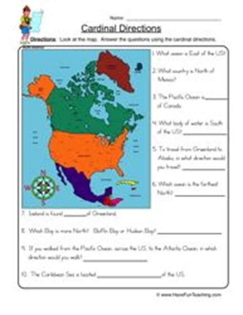 social studies worksheets cardinal directions and