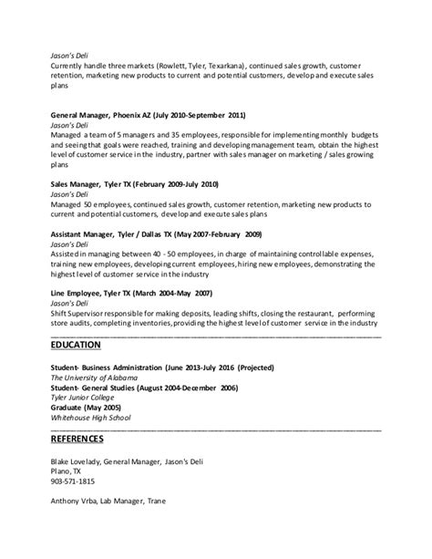 Deli Resume by Justin Resume