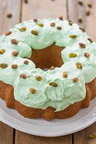 Pistachio Pudding Cake with Frosting