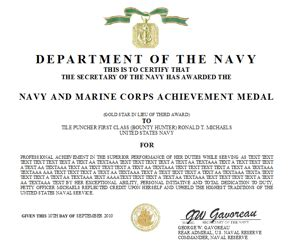 navy  marine corps achievement medal certificate