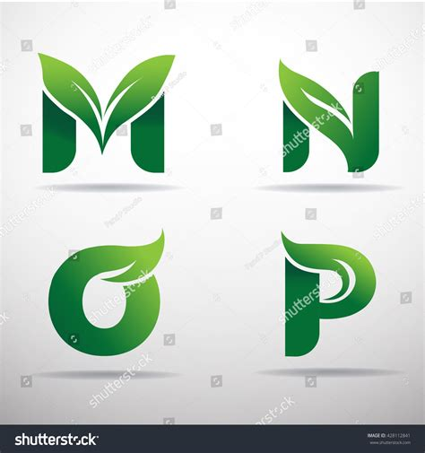 green eco letters logo leaves stock vector 428112841 set green eco letters logo leaves stock vector 428112841