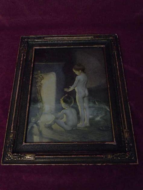 original antique framed print   bath  paul