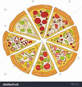 Tasty Sliced Pizza Slices Pizza Various Stock Vector