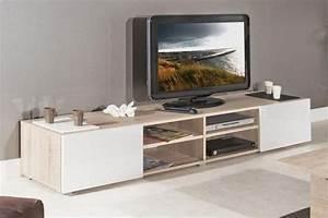 Meuble Tv Blanc Laqué Et Bois : destockage atlantic meuble tv couleur blanc et chene bardolino laque brillant grand modele ~ Teatrodelosmanantiales.com Idées de Décoration