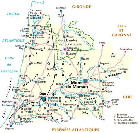 carte departement landes d 233 partement landes et codes postaux landes