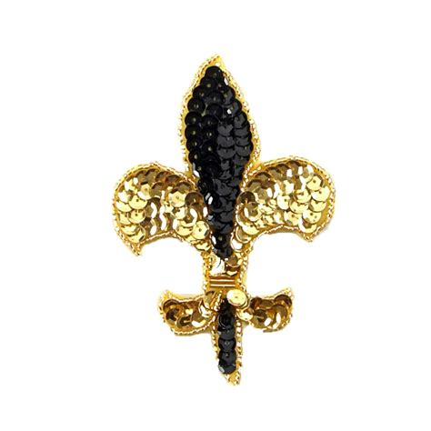 gold applique fleur de lis sequin applique 4 1 4 x 3 black gold